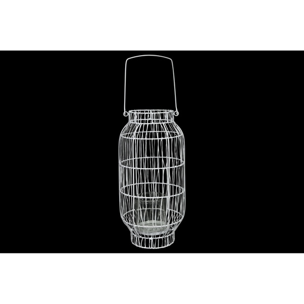 Metal Round Lantern with Top Handle, Lattice Design Body, Candle Glass Holder and Tapered Bottom Painted Finish White