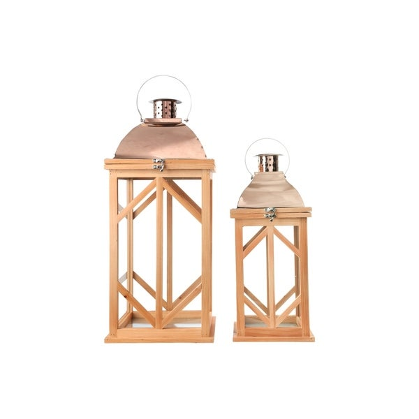 Wood Square Lantern with Rose Gold Metal FlipTop, Ring Hanger and Hexagon Design Body Set of Two Natural Finish Brown - N/A