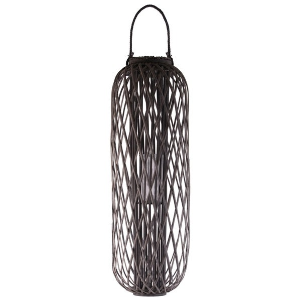 "Bamboo Round 47.25"" Lantern with Rope Lip and Handle, Lattice Design Body and Hurricane Candle Holder Weathered Finish Taupe"