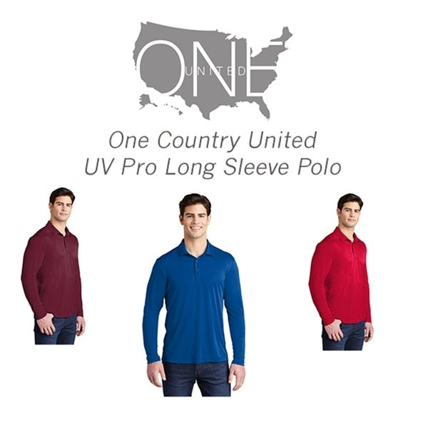 One Country United Mens UV Pro Long Sleeve Polo