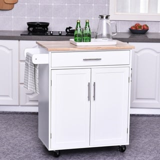 Kitchen Cabinet Island with Large Countertop, Storage Space, and Omni-Directional Castor Wheels