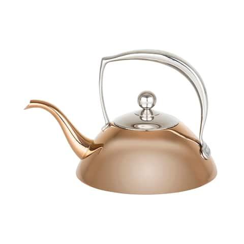 Viking Stainless Steel 1.05 Quart Teapot with Strainer Basket, Black