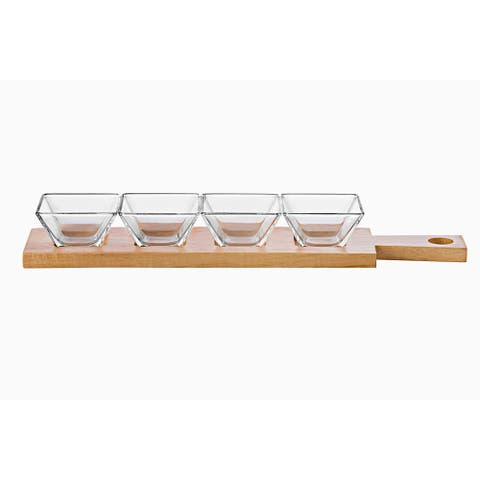 Majestic Gifts Inc.European Wood Tray W/4 Square Glass Individual Bowl