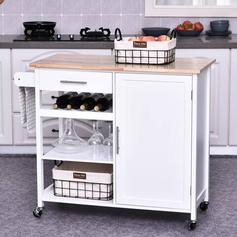HOMCOM Rolling Kitchen Island Cart with Large Countertop, Display Wine Rack, Large Storage Cabinet, and Towel Bar