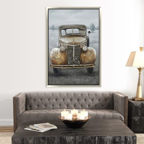 Hand Painted Acrylic and Aluminum 3D Wall Art Vintage Truck 39 x 59 Rectangular Canvas with a Silver Wooden Frame