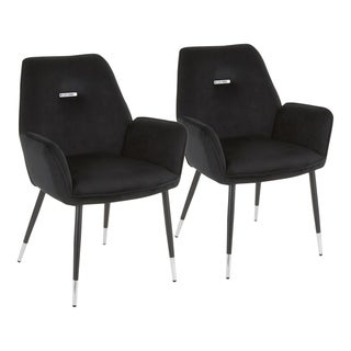 Wendy Glam Dining Chair with Chrome Accents - Set of 2 - N/A