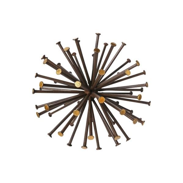 Metal Sea Urchin Sculpture with, Rustic Dark Brown Finish, Large