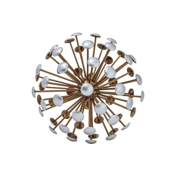 Metal Round Sea Urchin Ball with Grey Edges, Tarnished Gold Finish