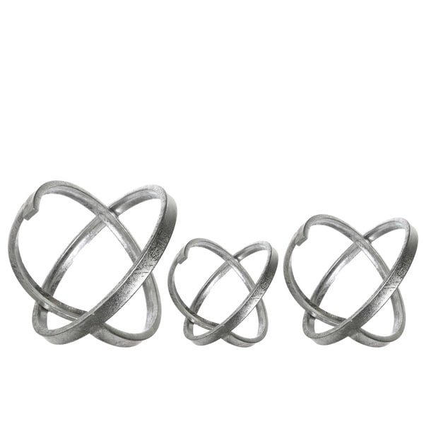 Metal Round Abstract Sculpture, Metallic Silver Finish, Set of 3