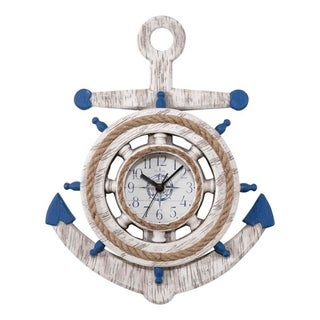 La Crosse Clock BBB84008 14 inch Blue & White Anchor Quartz Wall Clock