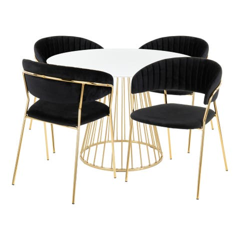 Canary-Tania 5-Piece Contemporary Dining Set in White Wood & Gold