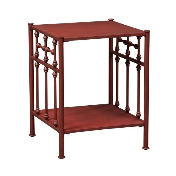Vintage Series Red Distressed Metal Open Night Stand