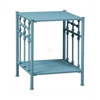 Vintage Series Blue Distressed Metal Open Night Stand