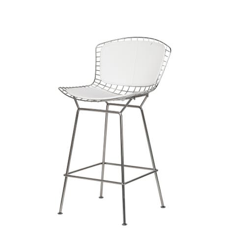 Porch & Den Sethrich White Pad/ Stainless Steel Mesh Counter Stool