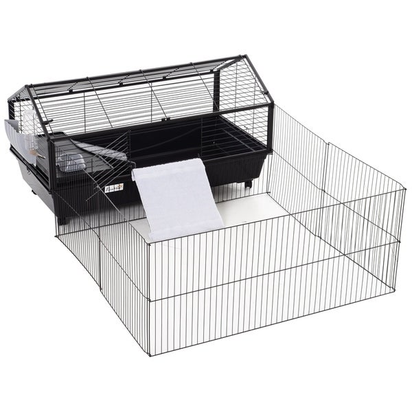 """PawHut Rolling Metal Rabbit, Guinea Pig, or Small Animal Hutch Cage with Main House and Run, 47"""" L. Opens flyout."""