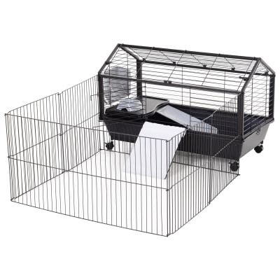 """PawHut Rolling Metal Rabbit, Guinea Pig, or Small Animal Hutch Cage with Main House and Run, 35"""" L"""