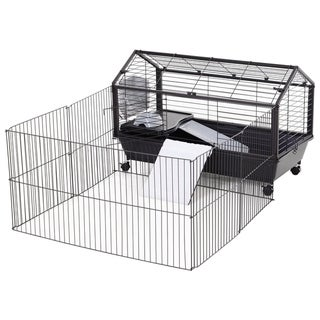 """Link to PawHut Rolling Metal Rabbit, Guinea Pig, or Small Animal Hutch Cage with Main House and Run, 35"""" L Similar Items in Small Animal Cages & Habitats"""