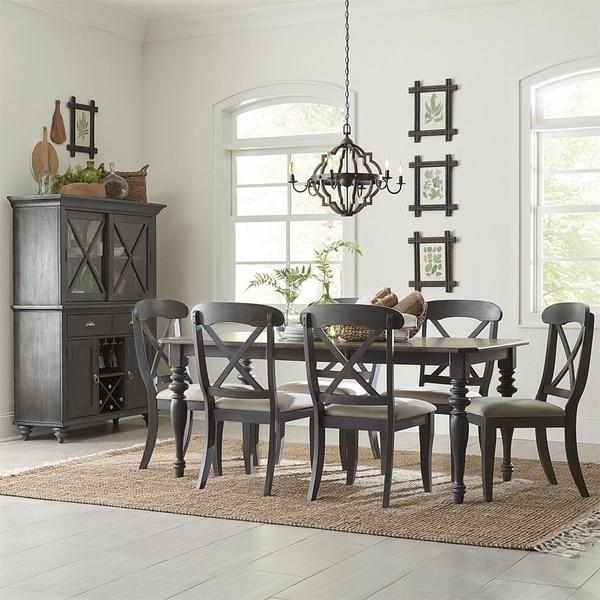 Ocean Isle Slate with Weathered Pine 7-piece Rectangular Table Set