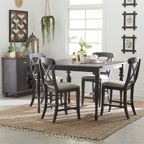 Ocean Isle Slate with Weathered Pine 5-piece Gathering Table Set