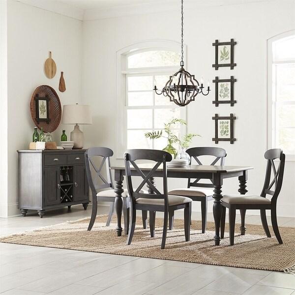 Ocean Isle Slate with Weathered Pine 5-piece Rectangular Table Set