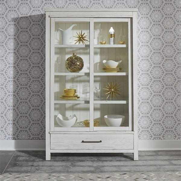 Modern Farmhouse Flea Market White Display Cabinet