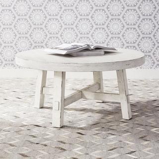 Modern Farmhouse Flea Market White Splay Leg Round Cocktail Table