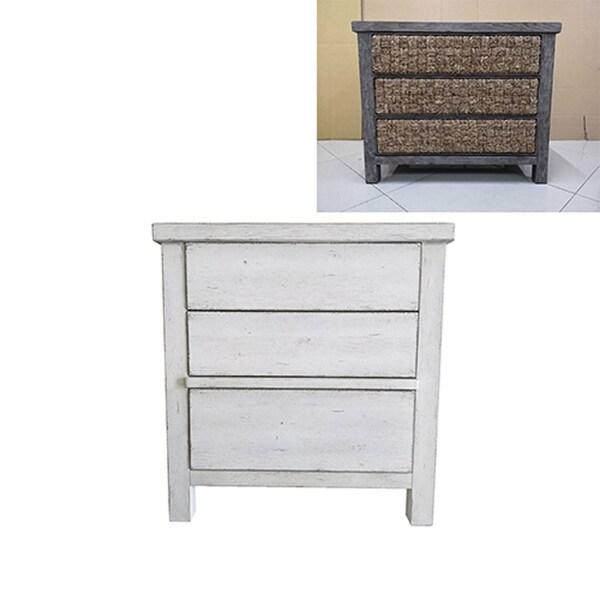 Modern Farmhouse Flea Market White 3-drawer Accent Nightstand