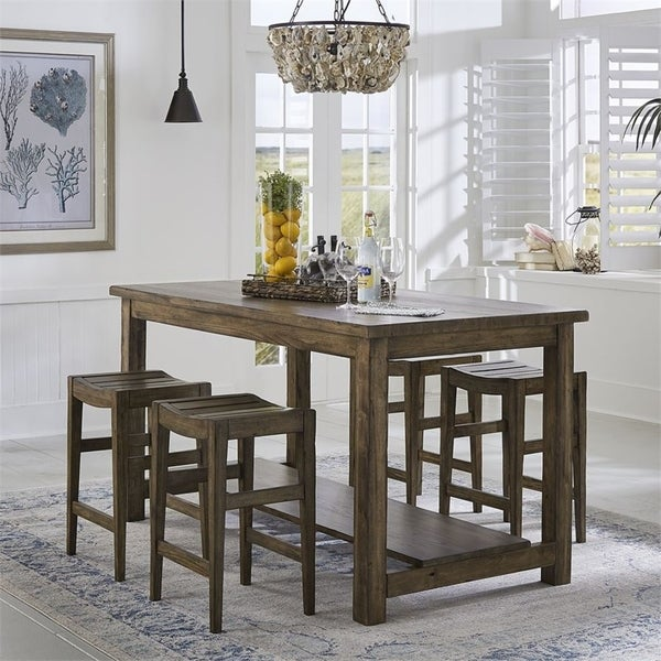 Color Nook Brownstone 5-piece Gathering Table Set