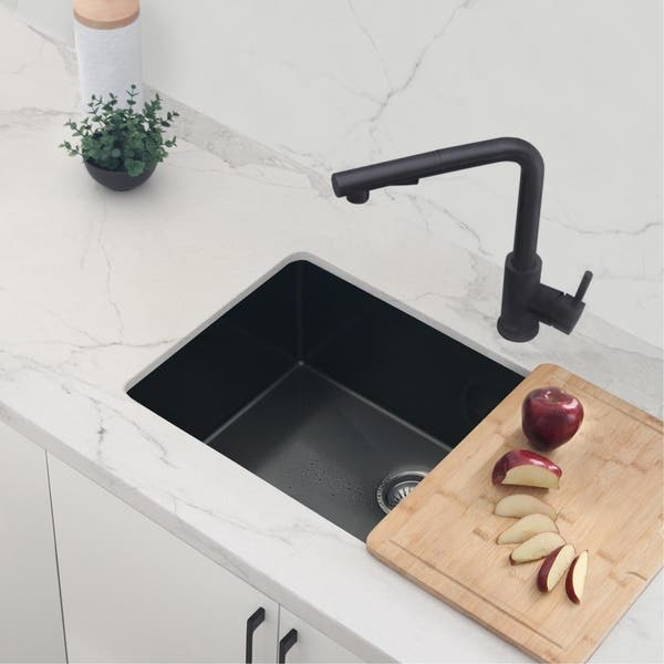 Shop Solid Stainless Steel Sink Kitchen Faucet Matte Black Finish Kitchen Sink Faucet K130n Matte Black Faucet Height 12 3 8 Overstock 30528918