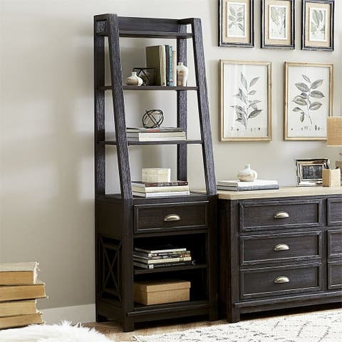Heatherbrook Charcoal 1-drawer Leaning Bookcase Pier