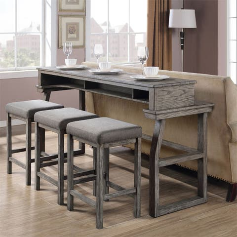Hayden Way Grey Wash 4-piece Bar Table Set