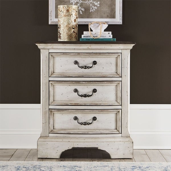 Abbey Road Porcelain White 3-drawer Night Stand