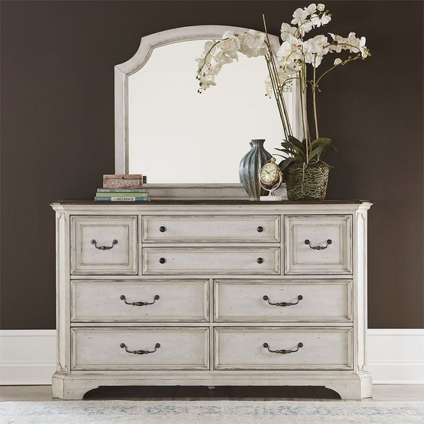 Abbey Road Porcelain White Dresser and Mirror