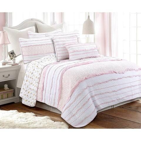 Cozy Line Pink Princess Ruffle Cotton Quilt Set
