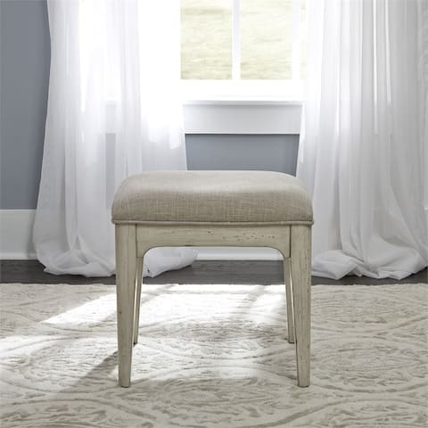 Farmhouse Reimagined Antique White Vanity Stool