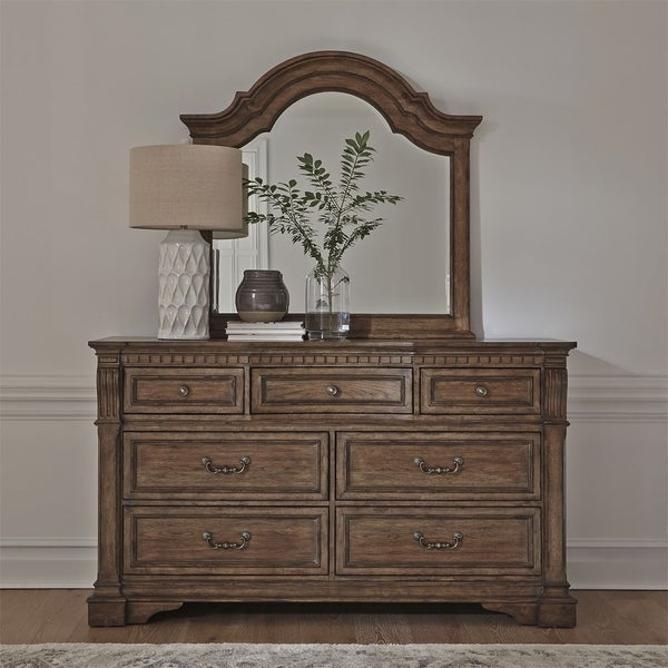 Haven Hall Aged Chestnut Dresser and Mirror