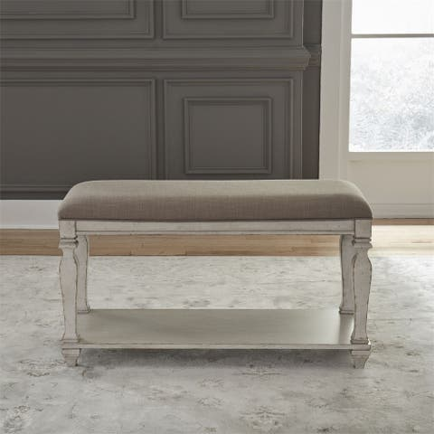Low Country Sea Oat White Upholstered Counter Bench