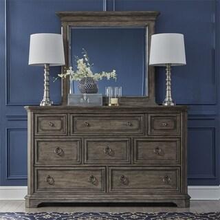 Townsend Place Greige Oak Dresser and Mirror