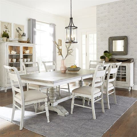 Whitney Antique Linen 7-piece Trestle Table Dining Set