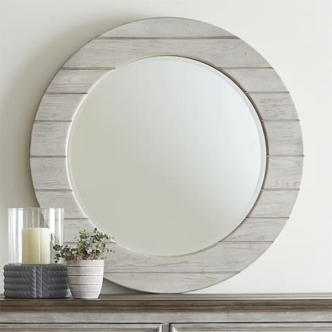 Heartland Tobacco White Round Framed Mirror