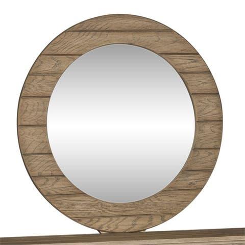 Heartland Brown Round Framed Mirror