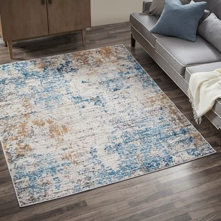Madison Park Amelia Cream/ Blue Pegasus Abstract Area Rug