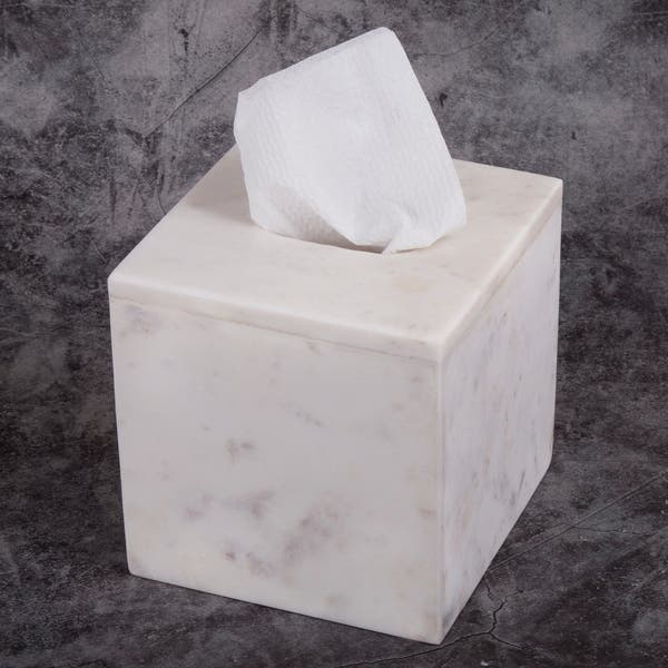 Creative Home Natural Marble Tissue Box Holder Cover Boutique Off White On Sale Overstock 30531805