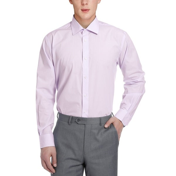 Mens Classic/Regular Fit Cotton Striped Dress Shirt