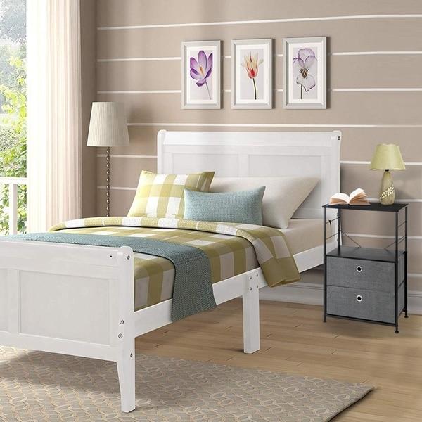 Nightstand 2-Drawer Shelf Storage - Bedside Furniture End Table Chest