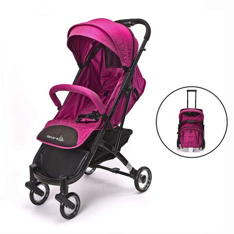 WonderBuggy Baby Stroller Portable One Hand Folding Compact Travel Stroller Pink