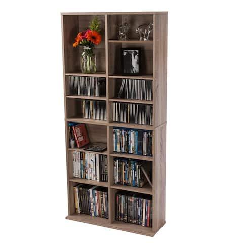 Atlantic Henley Weathered Oak Adjustable Media Storage Cabinet