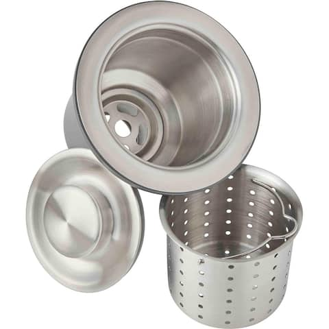 """Elkay 3-1/2"""" Drain Fitting, Deep Strainer Basket and Brass tailpiece"""