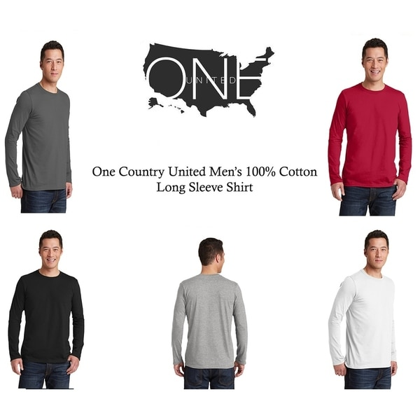 One Country United Mens Cotton Long Sleeve T-Shirt.