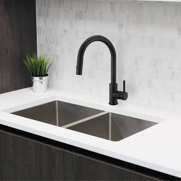 Shop Solid Stainless Steel Sink Kitchen Faucet 1 Lever Handle Pull Down Spout Mixer Tap Matte Black Finish Kitchen Sink Faucet Overstock 30533575